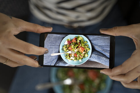 Woman's hands holding smartphone, taking picture of salad - FMOF00613