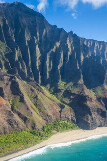 Hawaii, Kauai, Aerial of the Na Pali Coast, Na Pali Coast State Wilderness Park - RUNF01841