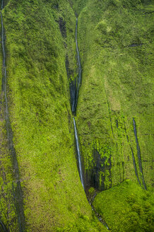 Aerial of a waterfall in the interior of Kauai, Hawaii - RUNF01847