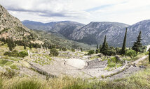 Greece, Delphi, theater, Athenian Treasury and Temple of Apollo - MAMF00554