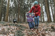 Mother with little daughter and Border Collie in autumnal forest - DWF00400