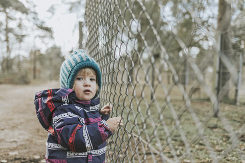 Portrait of toddler girl in warm clothes at a fence in forest - DWF00421