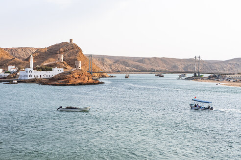 Al Ayjah mosque and harbor seen from Al Ayjah lighthouse, Sur, Oman - WVF01264