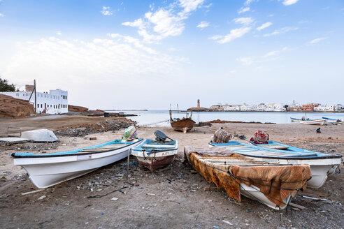 Fishing boats at Sur bay, Sur, Oman - WVF01276
