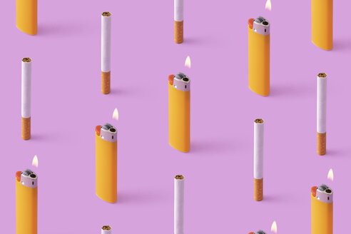 Rows of cigarettes and burning lighters on purple background - DRBF00151