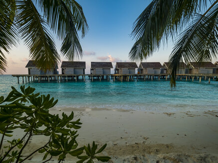Maledives, Ross Atoll, water bungalows at the beach in the evening - AMF06909