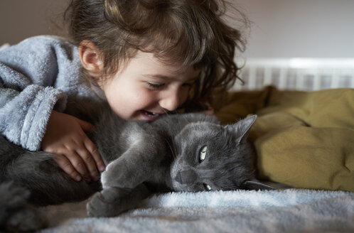 Happy toddler girl cuddling grey cat lying on bed - GEMF02920