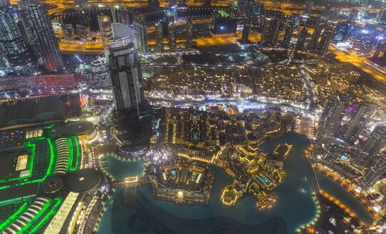 United Arab Emirates, Dubai, Burj Khalifa Lake and Souq Al Bahar at night - HSIF00498