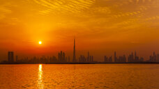 United Arab Emirates, Dubai, silhouette of the skyline at twilight - HSIF00504
