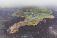 USA, Hawaii, Big Island, aerial view of the impacts of the volcanic eruption in 2018, Puna Geothermal Power Plant - FOF10703
