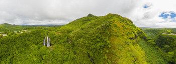 USA, Hawaii, Kauai, Wailua State Park, Opaekaa Falls, aerial view - FOF10730