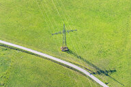 Germany, Baden-Wuerrttemberg, Lake Constance, Markdorf, transmission line on field, aerial view - SH02146