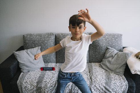 Little boy dancing at home - JCMF00039