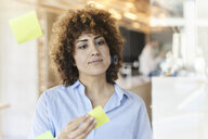 Businesswoman brainstorming with post-its on glass pane - FMKF05644