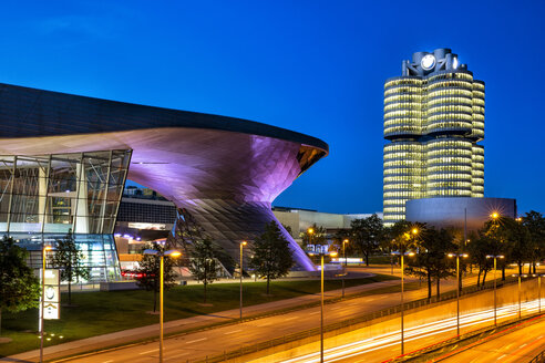 Germany, Munich, BMW World at dawn - YR00209