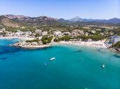 Spain, Majorca, Costa de la Calma, aerial view over Peguera with hotels and beaches - AMF06937