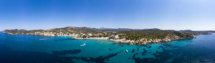 Spain, Majorca, Costa de la Calma, aerial view over Peguera with hotels and beaches - AMF06940
