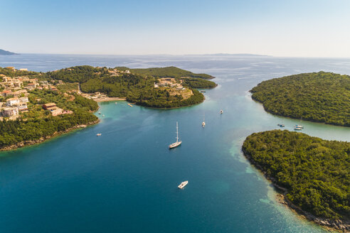 Greece, aerial view of small bay at Syvota - TAMF01346