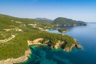 Greece, aerial view of coastal landscape of Syvota near Mega Drafi Beach - TAMF01349