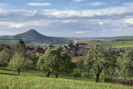 Germany, Weiterdingen, meadow with scattered fruit trees and Hegau volcano in the back - ELF02018