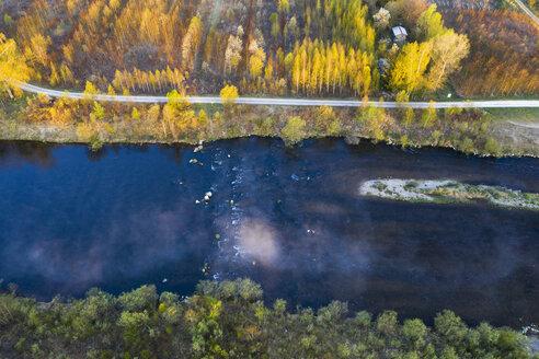 Germany, Augsburg, Inningen, Wertach river, aerial view - SIEF08612