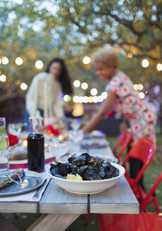 Mussels on dinner garden party table - CAIF23253