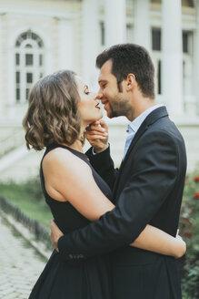 Portrait of smiling Caucasian couple kissing - BLEF00377