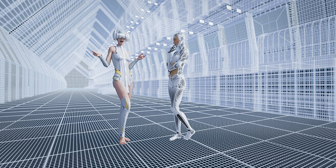 Robot with woman wearing virtual reality goggles in futuristic corridor - BLEF00392