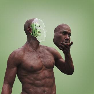 Robot man holding removable face mask - BLEF00668