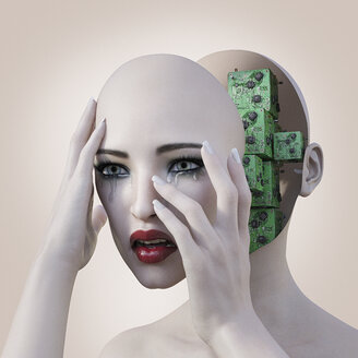 Robot woman holding removable face mask revealing circuits - BLEF00671