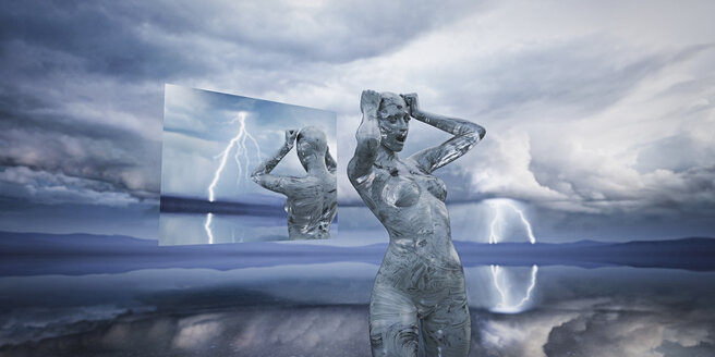 Hologram reflection of frustrated futuristic woman - BLEF00824