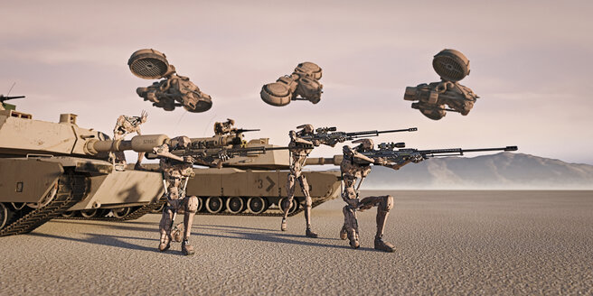 Futuristic soldiers and tanks in desert - BLEF01139
