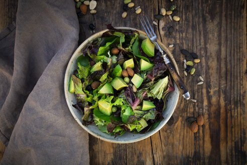 Various leaf salad with avocado, roasted seeds, almonds and soy beans - LVF07986
