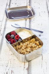 Box with granola, greek yogurt, blueberries and raspberries - LVF07992