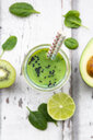 Glass of green smoothie with avocado, spinach, kiwi and lime - LVF07996