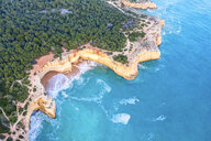 Portugal, Algarve, Lagoa, Praia da Corredoura, aerial view of forest, rocky coastline and sea - MMAF00925