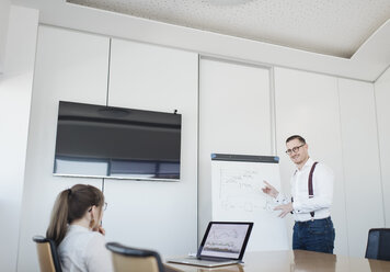 Businesswoman with laptop and businessman at flip chart working in office - AHSF00264