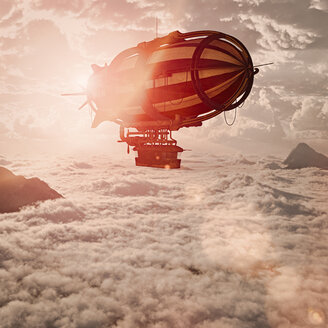 Zeppelin flying above clouds - BLEF02269