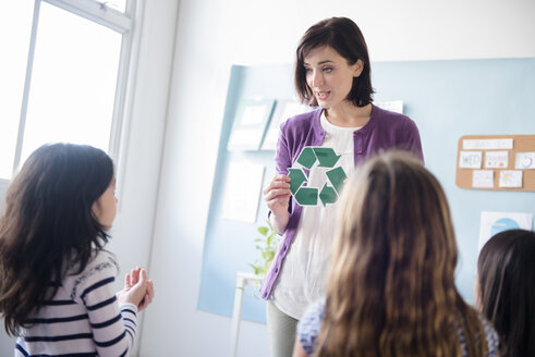 Teacher showing recycling symbol to girls in classroom - BLEF02372