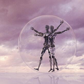 Robots rolling in transparent glass sphere - BLEF02429