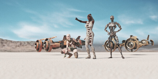 Women and robot searching desert near futuristic vehicles - BLEF02456