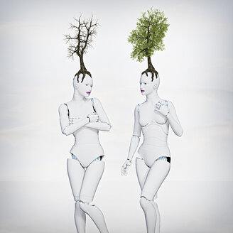 Trees growing on heads of robot women - BLEF02641