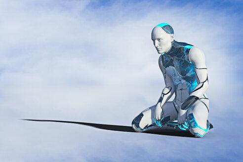 Robot man kneeling on ground - BLEF02644