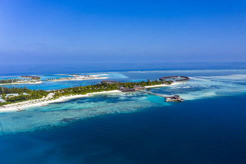 Maldives, South Male Atoll, aerial view of island Olhuveli - AMF06987