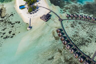 Maldives, South Male Atoll, aerial view of resort with bungalows on island Olhuveli - AMF06990