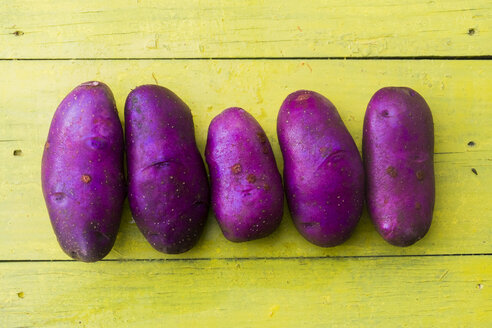 Purple potatoes in a row on wooden table - BLEF03038
