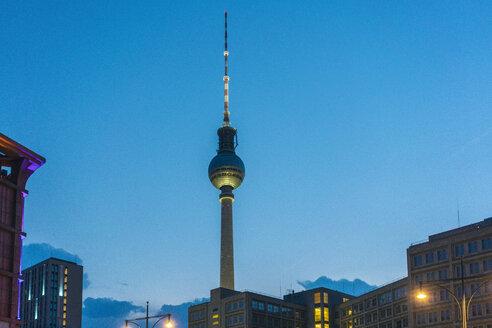 Germany, Berlin, television tower at night - TAMF01371