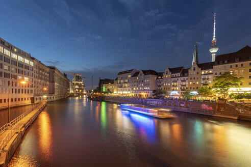 Germany, Berlin, view to lighted television tower and Nikolai Quarter with Spree River in the foreground - TAMF01377