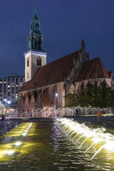 Germany, Berlin, view to St. Mary's Church at night - TAMF01401