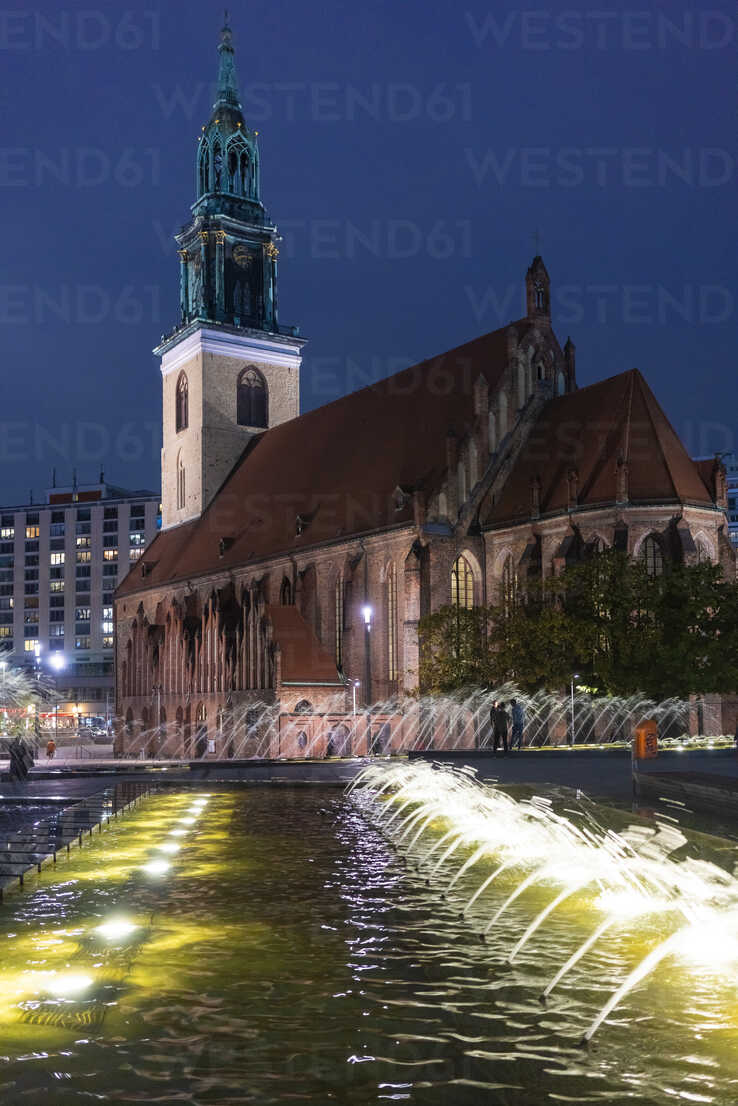 Germany, Berlin, view to St. Mary's Church at night - TAMF01401 - A. Tamboly/Westend61